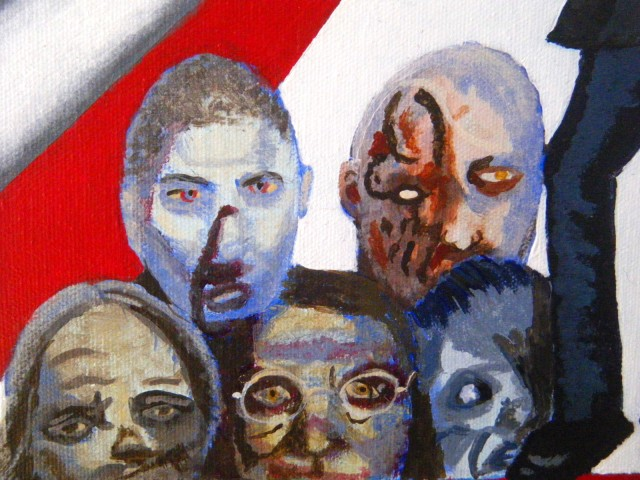 """Detail of the zombies to the Governor's left.  All of these are based on zombies that appeared in """"The Walking Dead."""""""